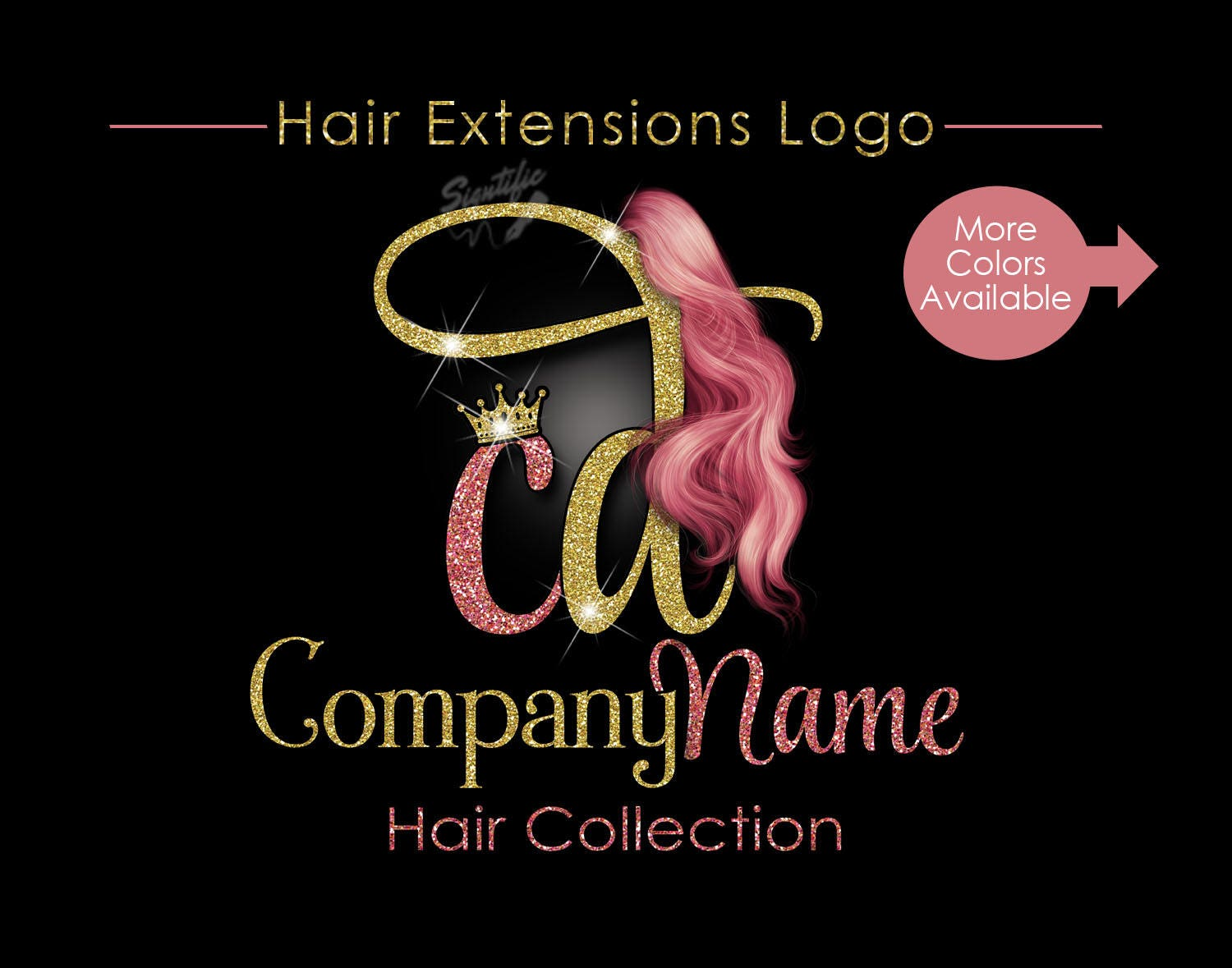 hair extensions business logo glitter bling logo rose gold etsy