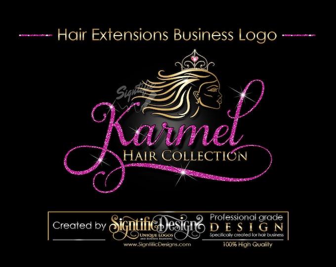 Hair Extensions Logo, Hair Logo Design, Hair Collection Logo, Gold and Pink Glitter Logo with Tiara Crown, Virgin Hair Glitter Logo Blings