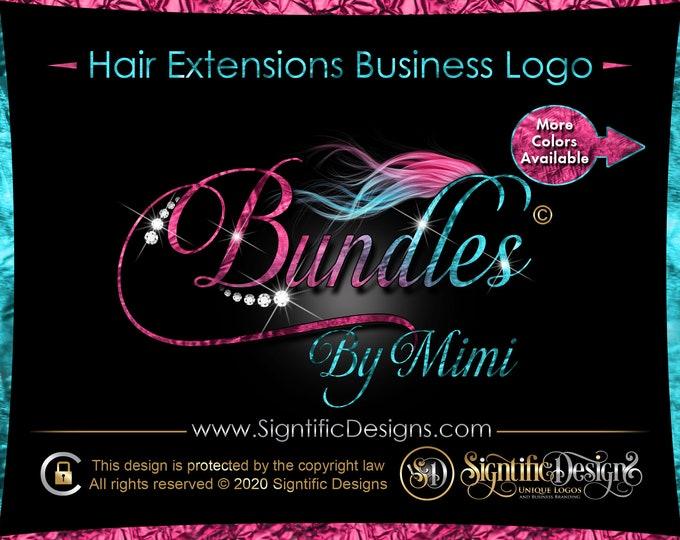 Hair Extension Logo, Ombre Hair Logo, Hair Company Logo, Bling Diamond Logo, Hair Bundle Logo, Bling Wig Logo, Hair Logo, Flowing Hair Logo
