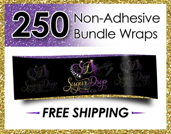 250 Non Adhesive Bundle Wraps, Hair Wraps, Hair Extension Wraps, Hair Labels, Wraps, Hair Business Wraps, Virgin Hair Wraps, Hair Branding