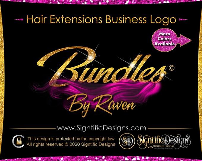 Hair Company Logo, Hair Extensions Logo, Glitter Bling Logo, Wig Logo, Hair Bundle Logo, Hair Branding, Logo Revamp Design, Logo Rebranding,