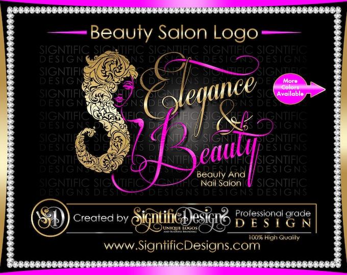 Beauty and Nail Salon Logo, Custom Business Logo, Silver and Teal Logo, Woman Silhouette Logo, Cursive Lettering Sign Logo, Wall Logo Design