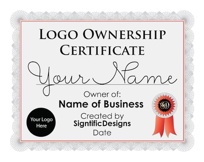 Logo Ownership Certificate, Logo Design License Add On