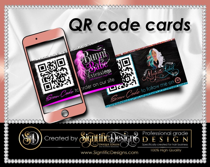 QR code Cards, Hair Packaging Card, Instagram Card, Website Cards, QR scanner Cards, Hair Extensions Card, Hair Business Card, Order Cards