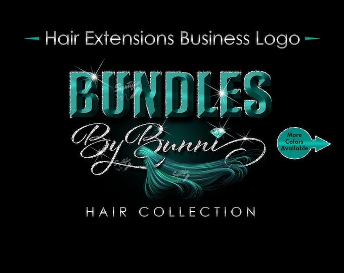 Hair Extensions Logo, 3D Hair Logo, Hair Business Logo, Bundle Logo, Hair Wrap Logo, Glitter Logo, Wig Logo, Teal Hair Logo, Hair Branding