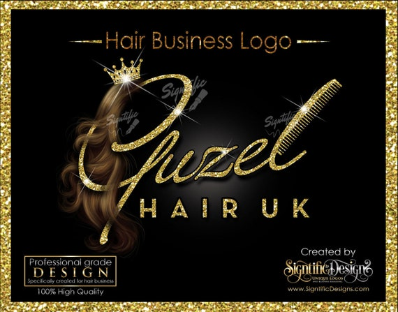 Hair Extensions Logo, Hair Company Logo, Bling Logo, Hair Glitter Logo, Packaging Logo, Hair Logo, Logo for Hair, Hair Company Logo Design