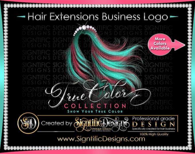 Hair Extensions Logo, Hair Business Logo, Virgin Hair Logo, Flowing Hair Logo, Multi Color Hair Logo, Bling Diamond Logo, Wig Logo Design