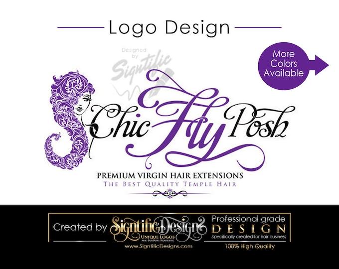 Hair Extension Logo, Hair Business Logo, Silhouette Logo, Virgin Hair Logo, Hair Logo Design, Small Business Logo, Hair Silhouette Logo