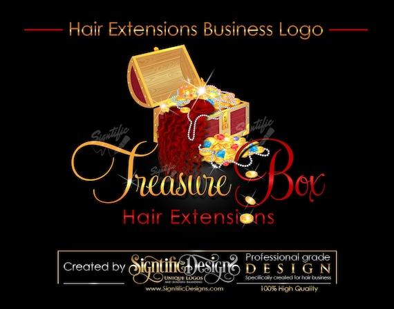 Hair Bundle Logo, Hair Extensions Logo, Treasure Chest Logo, Hair Treasure Logo, Bundle Bling Logo, Hair Packaging Logo, Hair Branding Logo