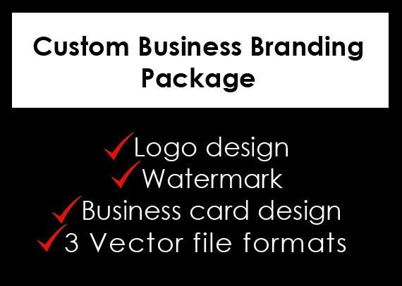 Custom business branding package, logo design, watermark, matching business card design, 3 vector source file formats