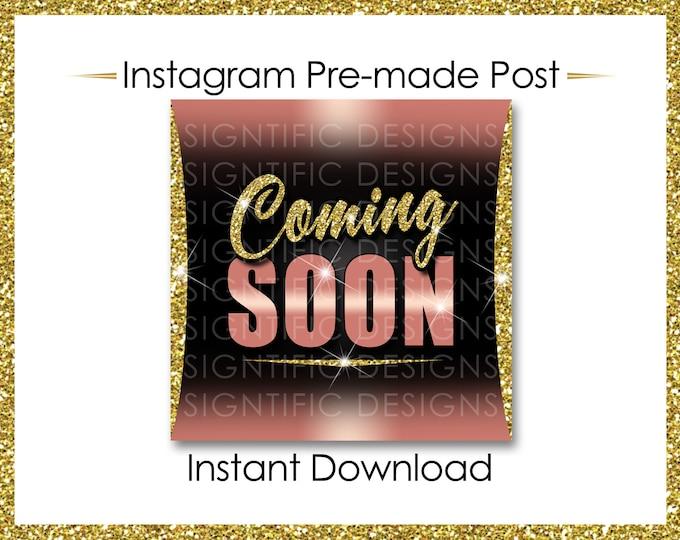Instant Download, Coming Soon, Hair Extensions Flyer, Glitter Gold Rose Gold, Instagram Post, Digital Online Flyer, Social Media Post, IG ad