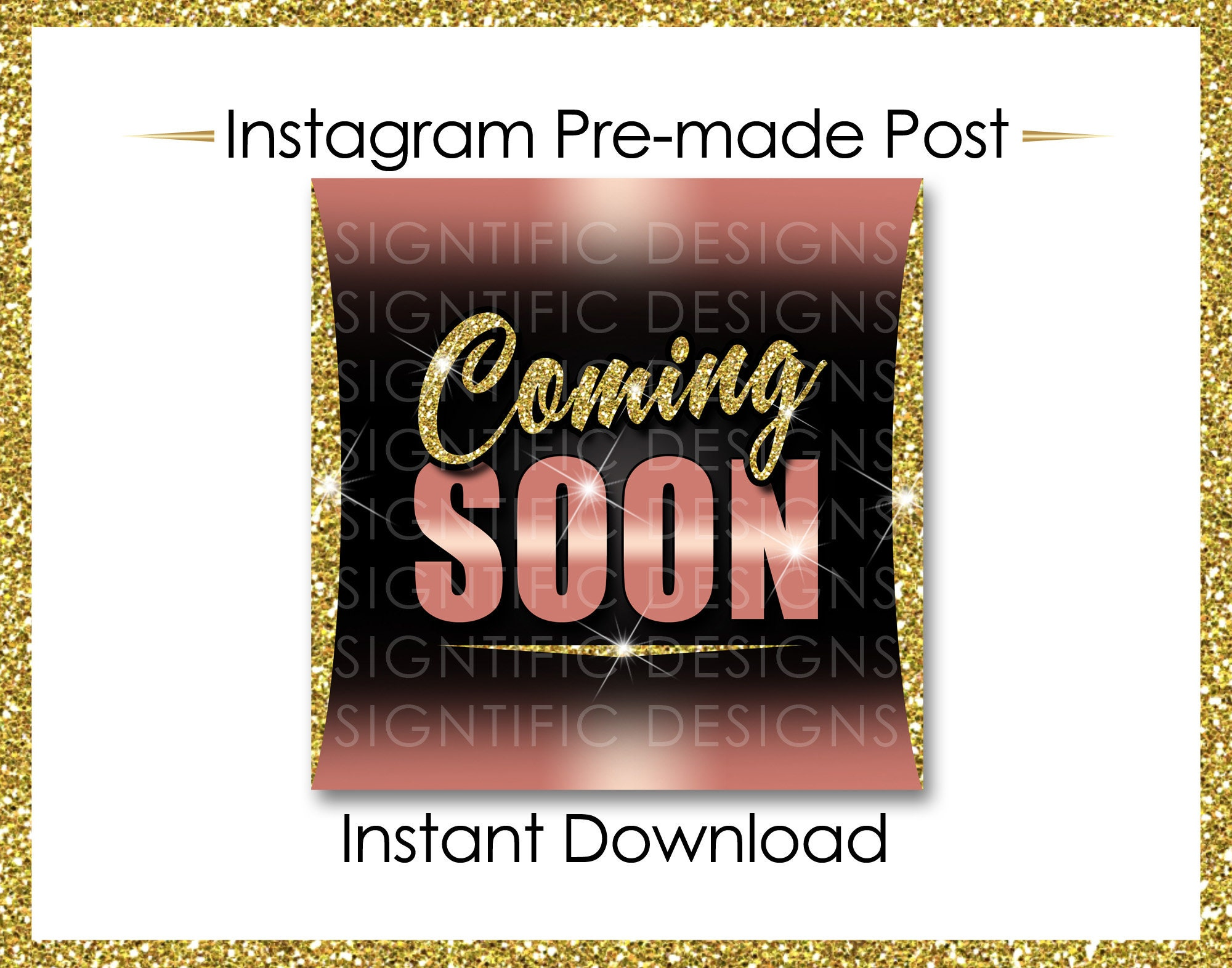 Instant Download Coming Soon Hair Extensions Flyer Glitter Gold Rose Gold Instagram Post Digital Online Flyer Social Media Post Ig Ad