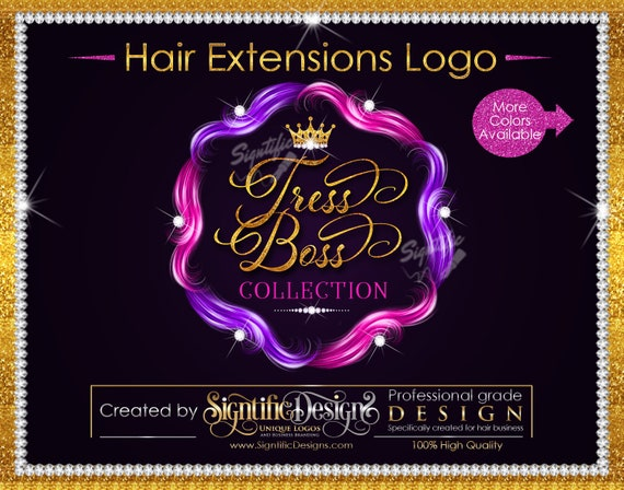 Hair Extensions Logo, Hair Bundle Logo, Hair Branding Design, Diamond Bling Logo, Packaging Logo, Multi Color Hair Logo, Glitter Hair Logo