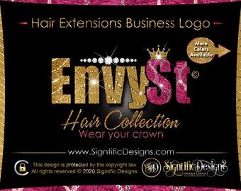 Hair Extension Logo, Diamond Logo, Glitter Pattern Logo, Hair Company Logo, Crown Logo, Hair Brand, Hair Business Logo, Bling Logo, Wig Logo