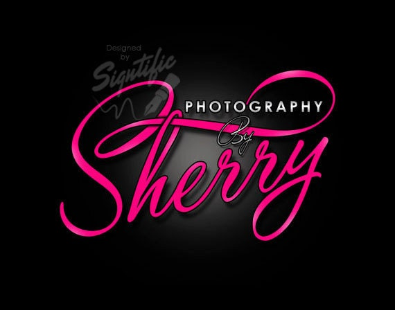 Girly Photography Logo, Custom Photographer Name Logo, Name Signature Logo, Photography Business Logo, Pink Lettering, Photography Watermark