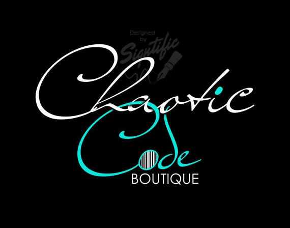 Custom boutique logo, fashion logo design, turquoise and white logo, clothing logo design, online business logo, pre-made couture logo