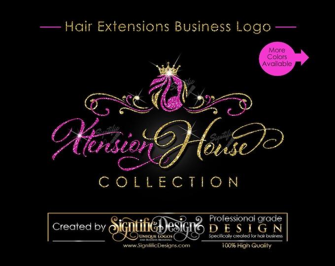 Hair Extensions Logo, Glitter Logo, Hair Business Logo, Bling Logo, Mane Logo, Tresses Logo, Virgin Hair Logo, Bundle Logo, Hair Tag Logo