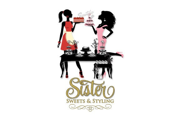 Small Business Logo, Sweets Logo, Cake Business Logo, Silhouette Logo, Pastries Logo, Image Logo Design, Cursive lettering, Glitter logo