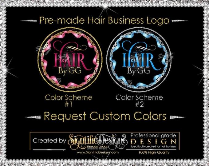 Premade Hair Logo, Hair Extensions Logo, Hair Business Logo, Hair Frame Logo, Glitter Logo, Hair Bundle Logo, Round Hair Logo, Hair Branding