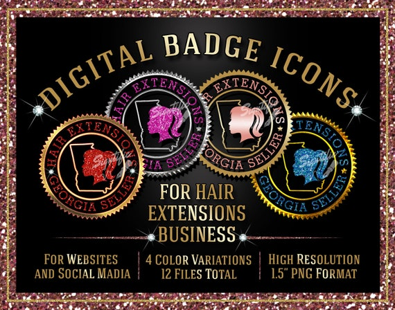 Hair Business Icons Instant Download, Hair Business Georgia Seller Badge Icons, Hair Website Icons, Round Badge Icon, Digital Label Designs