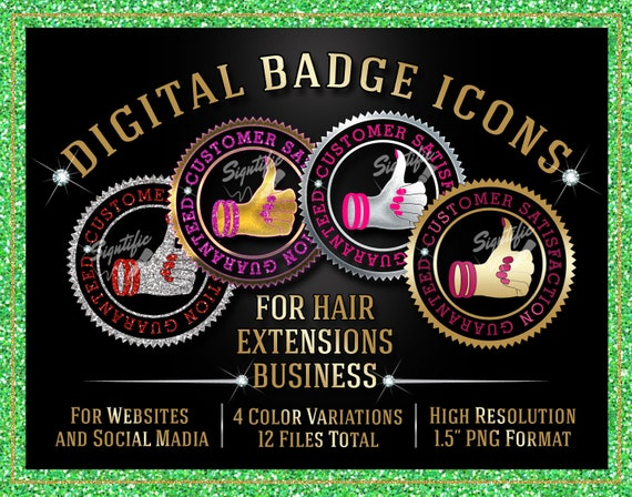 Hair Extensions Badge Icons Instant Download, Customer Satisfaction Guaranteed Badge Icons, Website Badge, Social Media Icons, Round Badge.,