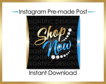 Instant Download, Shop Now, Hair Flyer, Hair Extensions Flyer, Instagram Post, Instagram Caption, Digital Online Flyer, Gold and Blue Flyer