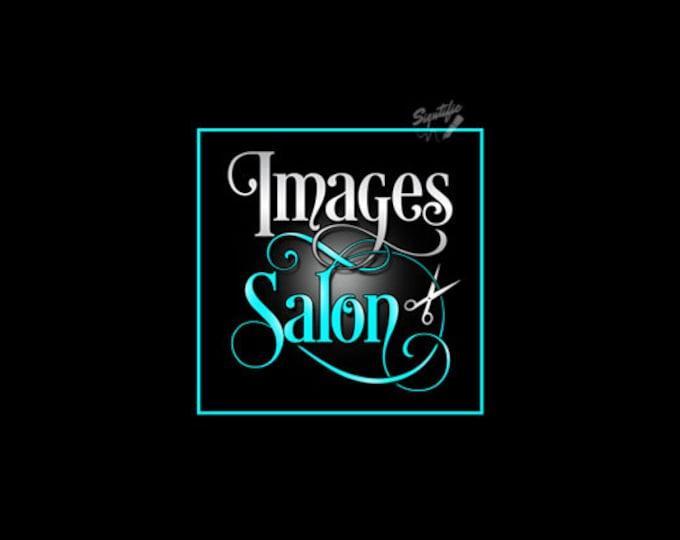 Hair Salon Logo, Custom Salon Logo Design, Silver and Teal Logo with Scissors, Beauty Salon Logo, Shears Logo, Premade Scissors Logo