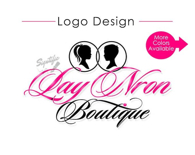 Custom logo design, pink, black boutique logo, website logo, clothing line, closet logo, fashion logo, silhouettes logo, online store logo