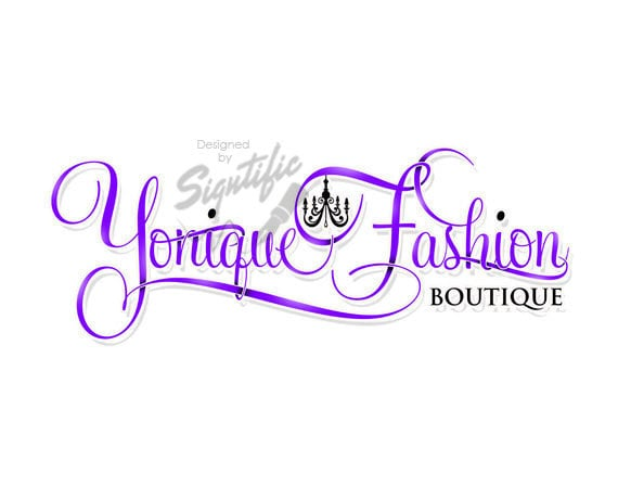 Fashion boutique logo - couture logo - custom logo with chandelier - pre-made logo - calligraphy logo - boutique logo - logo in any colors