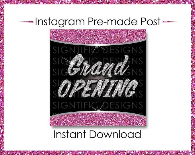 Instant Download, Grand Opening, Hair Extension Flyer, Instagram Post, Silver Pink Flyer , Online Flyer, Instagram Flyer, Glitter IG post
