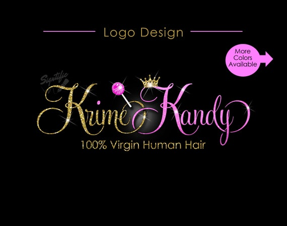 Hair Extension Logo, Virgin Hair Logo, Crown Logo, Glitter Hair Logo, Bling Lollipop Logo, Bling Crown Logo, Hair Bundle Logo, Hair Tag Logo