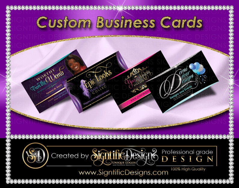Custom Business Cards Printed Cards Full Color Cards Visit image 1