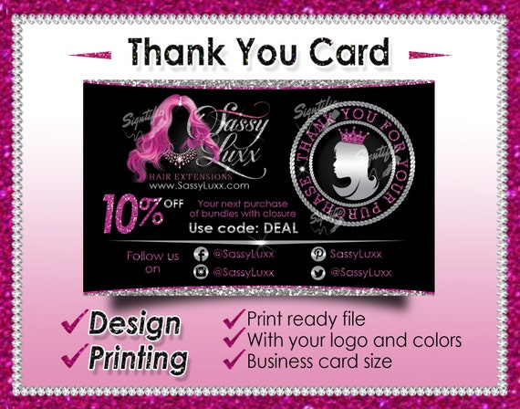 Thank You Card, Hair Extensions Card, Customer Appreciation, Thank You For Your Purchase, Customized Thank You Card, Hair Business Card