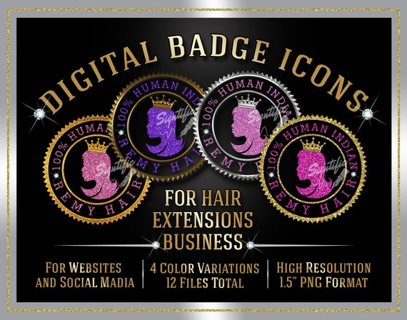 Hair Extensions Badge Icons Instant Download, 100% Human Indian Remy Hair Badge Icons, Website Badge, Social Media Icons, Round Quality Seal