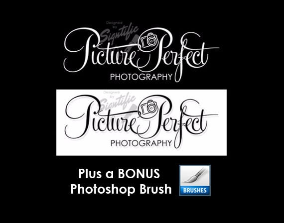 Photography Logo, FREE brush, 2 Black and White Photography Logo Design with a Bonus Photoshop Brush Preset, Photographer Signature Logo