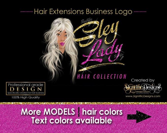 Hair Extensions Logo, Hair Bundle Business Logo, Illustration Logo, Hair Logo, Glitter Bling Logo, Hair Tags Logo Design, Wig Business Logo