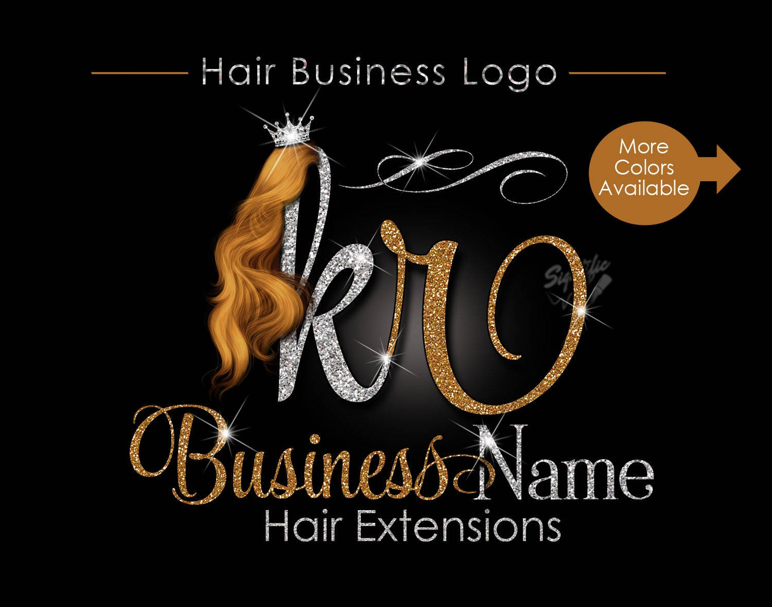 hair extensions business logo glitter logo honey gold hair etsy
