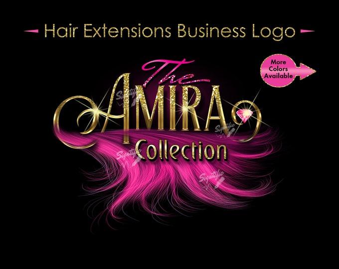 Hair Extensions Logo, 3D Hair Logo, Bundle Logo, Wig Business Logo, Hair Wrap Logo, Glitter Logo, Wig Logo, Pink Hair Logo, Hair Branding