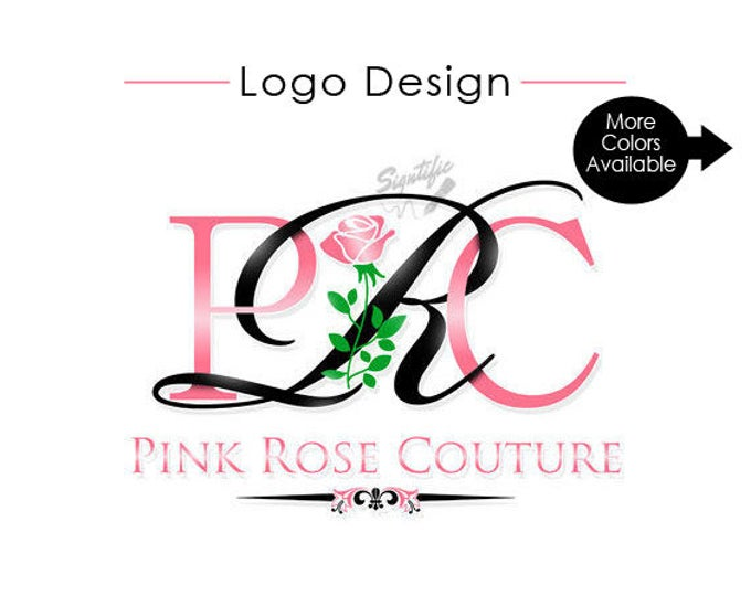 Custom Business Logo with Rose, Couture Fashion Logo Design, Rose Gold Logo, Small Business Logo, Black and Pink Logo, flower Initials Logo