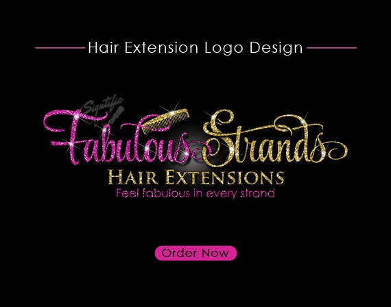 Hair Extensions Logo, Hair Logo Design, Hair Collection Logo, Gold and Pink Glitter Logo with Comb, Virgin Hair Glitter Logo Blings