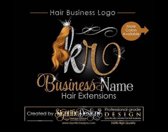 Hair Extensions Business Logo, Glitter Logo, Honey Gold Hair Logo, Custom Strands Logo, Hair Bundle Logo, Crown Logo, Hair Packaging Logo