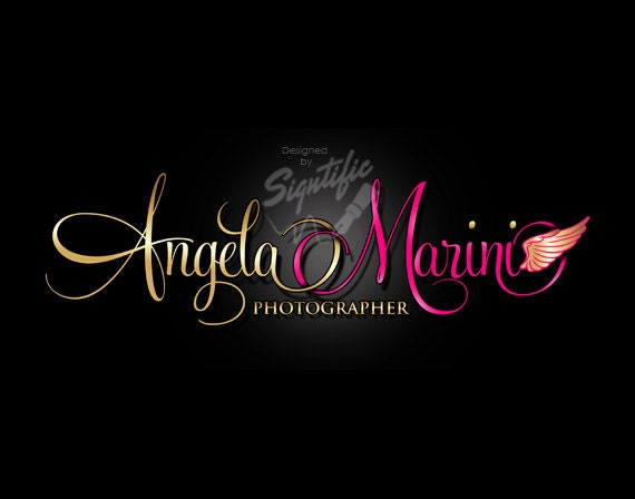 Photography Logo Design, Logo with Wing, Photographer Logo, Gold and Pink Lettering Logo, Photography Watermark, Photographer Name Signature