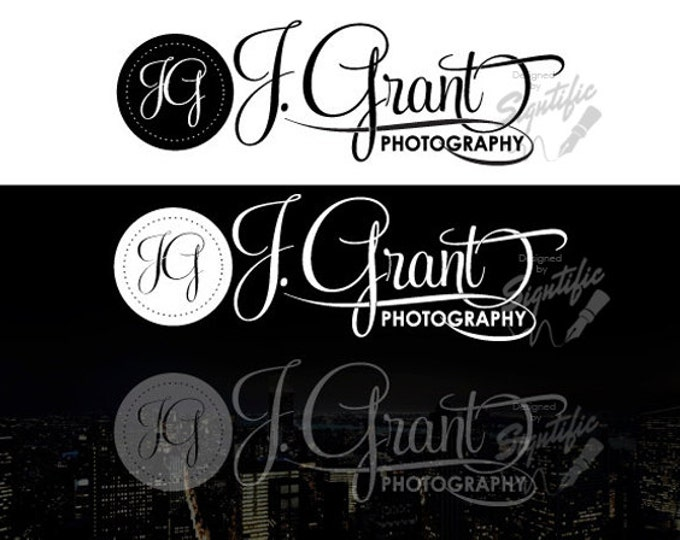 Photography logo plus watermark, photography signature, picture watermark, black on white, white on black plus watermark photography logos