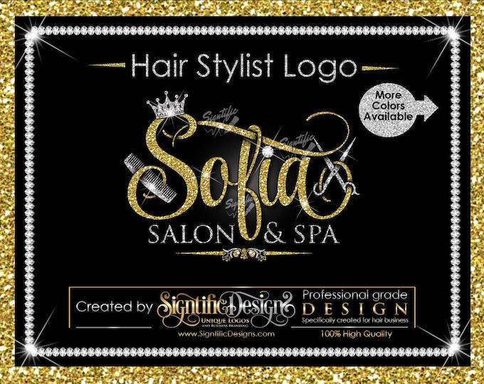 Hair Stylist Logo, Spa Logo, Hair Business Logo, Scissors Logo, Glitter Logo, Comb Logo, Hair Salon Logo, Hair Logo, Hair Dresser Logo