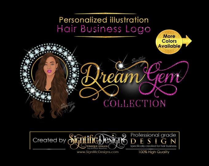 Personalized Portrait Logo, Custom Illustration Diamond Hair Business Logo, People Logo, Hair Extensions Logo, Hair Logo, Bling Hair Logo