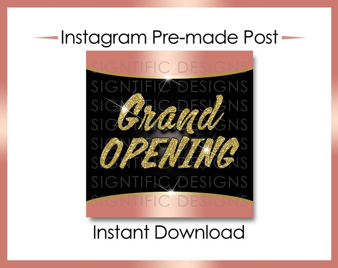 Instant Download, Grand Opening, Hair Extension Flyer, Instagram Post, Gold Rose Gold Flyer, Online Flyer, Instagram Flyer, Glitter IG post