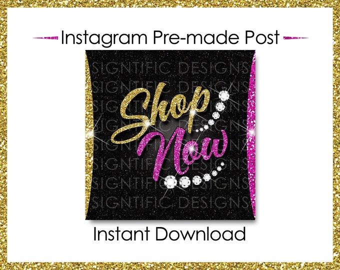 Instant Download, Shop Now, Bundle Flyer, Hair Extensions Post, Instagram Post, Instagram Caption, Digital Online Flyer, Gold and Pink Post