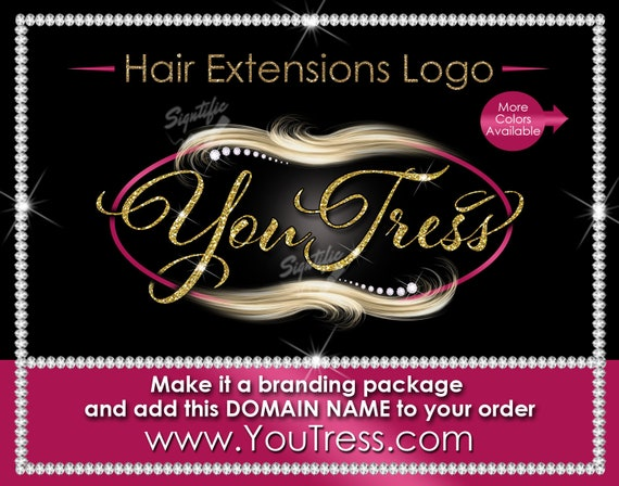 Hair Extensions Logo, Glitter Hair Logo, Flowing Hair Logo, Blond Hair Logo, Diamond Bling Logo, Packaging Logo, Virgin Hair Logo Design