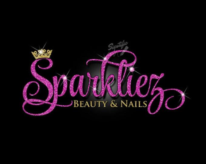 Glitter bling Beauty Salon Logo, Custom Salon Glitter Fuchsia Logo with Sparkles, Bling Hot Pink and Gold Shimmer Logo, Gold, Pink Glitters