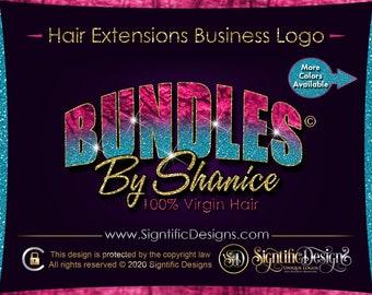 Hair Business Logo, Glitter Ombre Logo, Hair Extensions Logo, Hair Company Logo, Bundle Logo, Shimmer Logo, Business Logo, Hair Branding